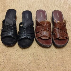 Shoes - Wedge sandal bundle. Black and brown. Exc cond.