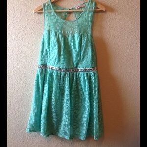 Mint green lace skater dress w/rhinestones @ waist