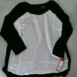 Merona black n white top XL