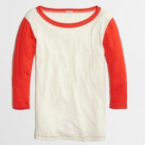 J.crew Color Block Baseball Top with 3/4 Sleeves
