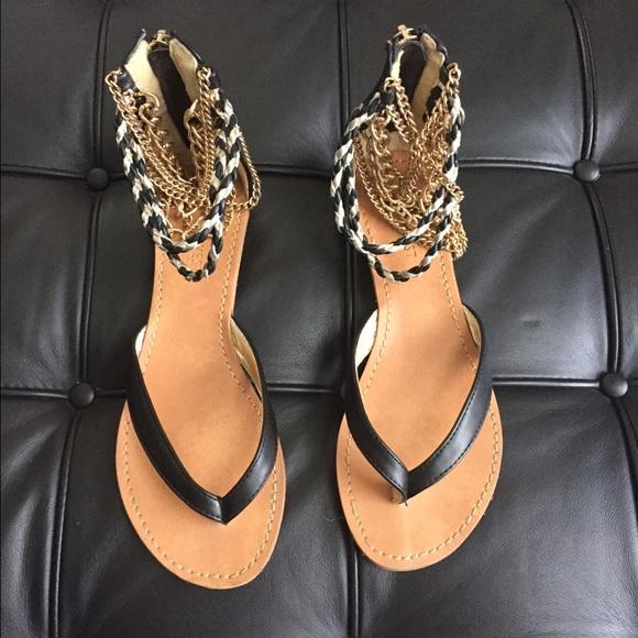 2adb4b2846b1 Nine West Black Flat Ankle Sandal with gold chains.  M 550de816291a355d62009119