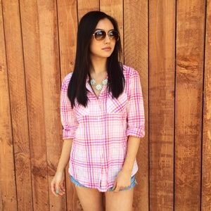 Merona Tops - Orange and Pink Plaid Shirt