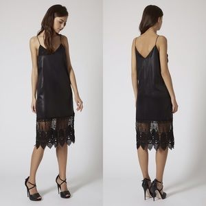 Topshop Wet Look Slip Dress with Lace Panel