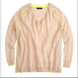 J. Crew Sweaters - J. Crew Merino Wool Neon Tipped V Neck Sweater