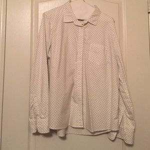 J. Crew Tops - J. Crew Factory Oxford Polka Dotted Blouse