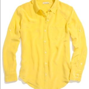 Yellow silk button up NWOT