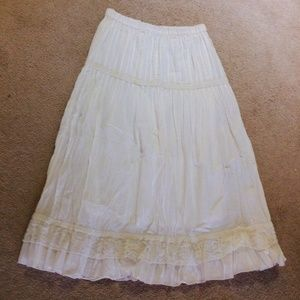 SZ S white cotton boho skirt free people style