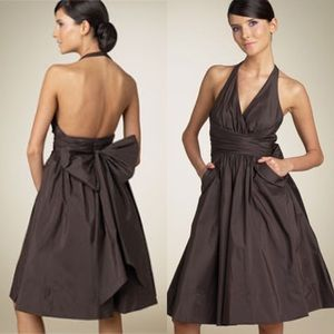 BCBGMaxAzria Dresses & Skirts - BCBG Brown Taffeta Halter Dress