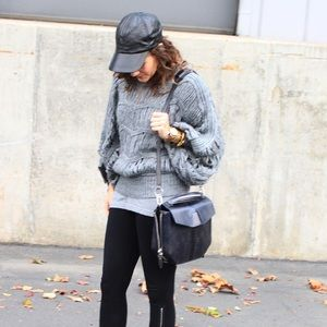 Aryn K Sweaters - Gray Shag Loose Knit Sweater
