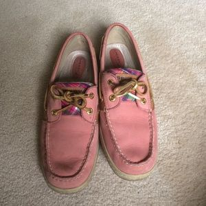Sperry Topsider pink plaid boat shoes