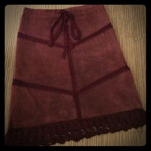 Arden B Boho Suede Crocheted Patchwork Skirt
