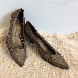 Cole Haan G series Metallic woven leather pump 10