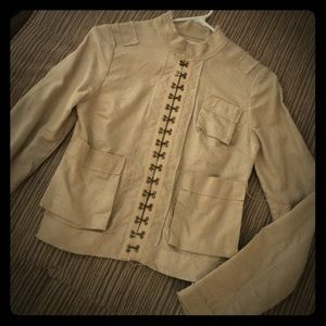 Boho Raw Hempish Hook-and-Eye Jacket