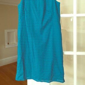 Loft Teal Eyelet Cotton dress