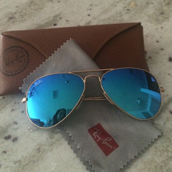 Blue mirrored Ray-Ban Aviators 55014 Large Metal
