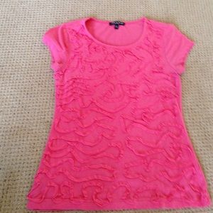 Cable & Gauge Tops - Pink scoop neck tee with ribbon embellishments.