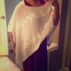 Pretty White Crochet Poncho