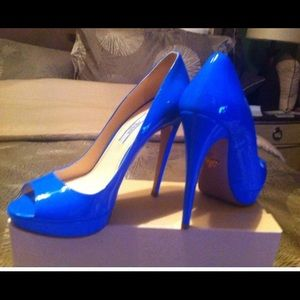 Prada Patent Leather Blue Peep Toe Pump 8.5/38 1/2