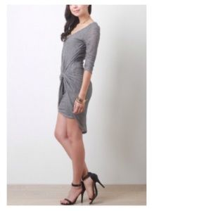 Dresses & Skirts - 25% OFF Grey Knotted Front Jersey Dress