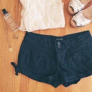 Pants - Navy Blue Linen Shorts