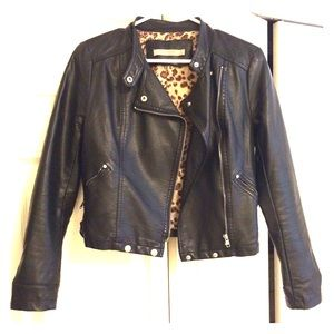 Black Leatherette Cropped Moto Jacket
