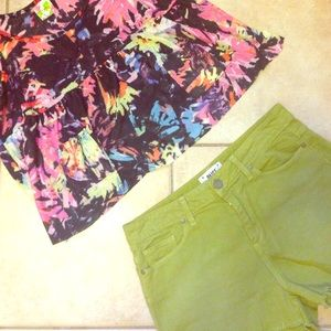 Green paige lola cutoff shorts