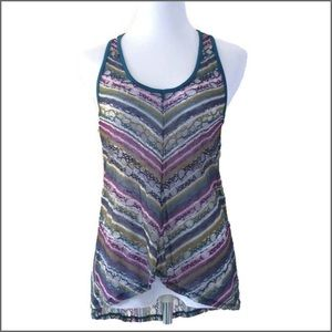 Love on a Hanger Tops - Multicolored Lace Racerback Top