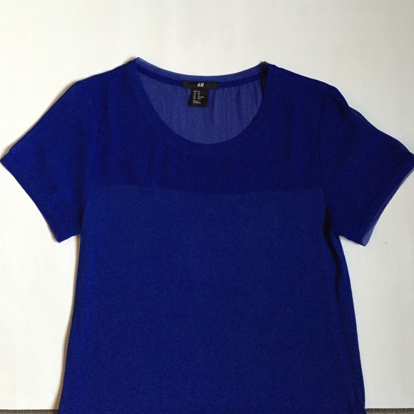 40 Off H M Tops H M Cobalt Top With Sheer Panels From Heather 39 S Closet On Poshmark