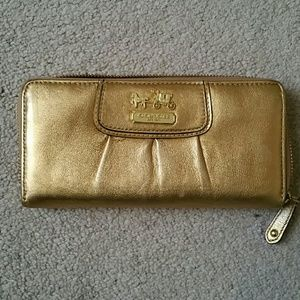 Gold Coach zippy wallet