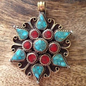 Tibetan turquoise and coral brass pendant necklace