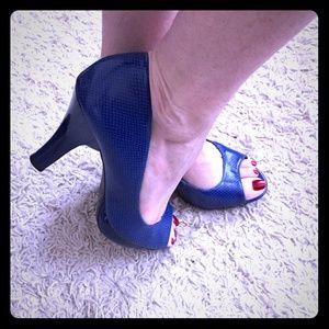 Royal Blue Leather Peep Toe Pumps
