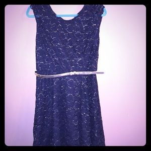 black and gold lace dress with gold belt