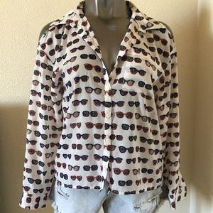 I Love HB1 Tops - I Love HB1 Sunglasses Print Cold Shoulder Blouse