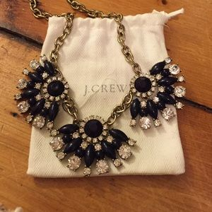 SOLD** Jcrew navy and crystal statement necklace