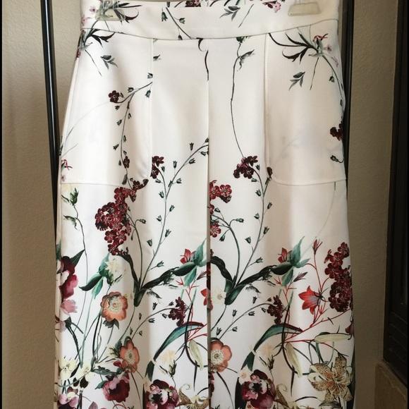 Zara Spring 2015 Floral Pleat Printed Skirt