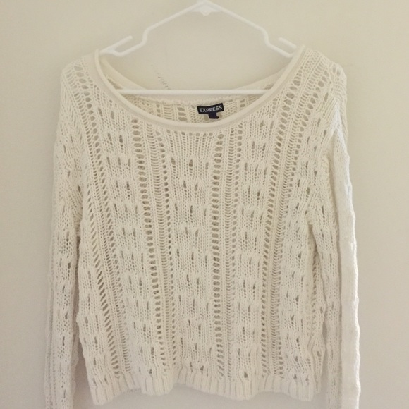 73% off Express Sweaters - Express lace knit crop top / sweater in ...