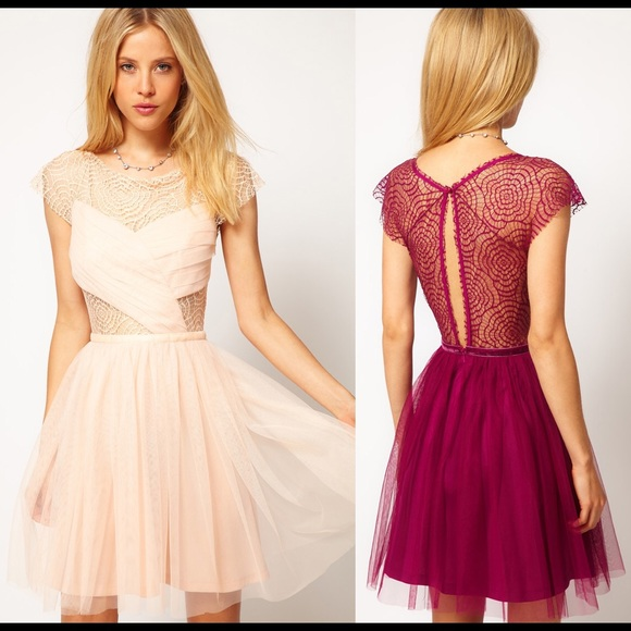 f96b574aa4 ASOS Beige Skater Dress with Cobweb Lace