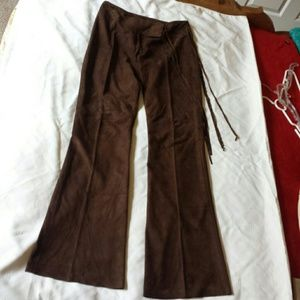 Cache Chocolate brown suede pants