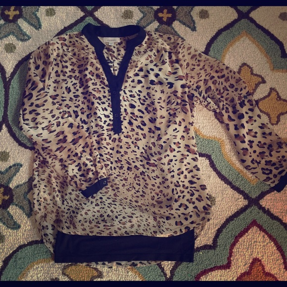 Leopard Blouse With Black Trim 108