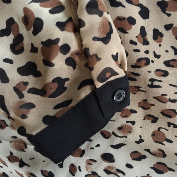 Leopard Blouse With Black Trim 57