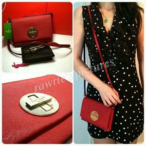 New Kate Spade red saffiano leather crossbody