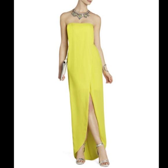 BCBG Dresses | Maxazria Lime Green Strapless Gown | Poshmark