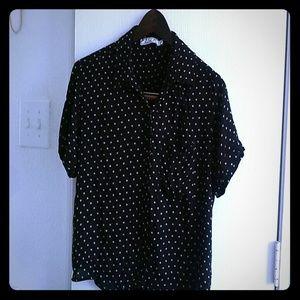 Chloe K button down blouse polka dot sz s