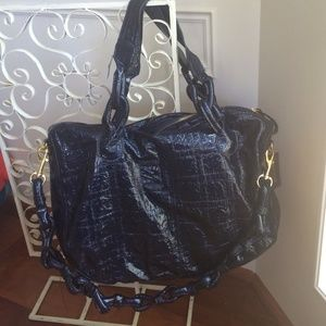 Navy and gold beach bag or shopper