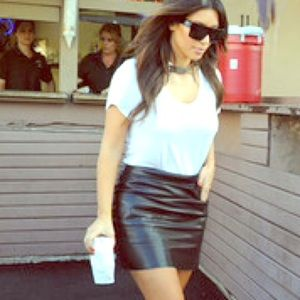 Faux leather mini Skirt. Get the look!