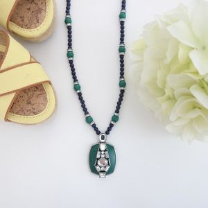 Cut Crystal Beaded Pendant Necklace