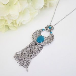 Silver Necklace w/Genuine Turquoise