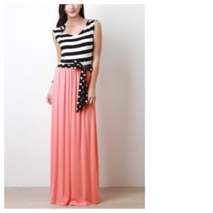 Coral B&W Stripes & Polka Dot Maxi Dress