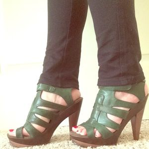 Shoes - Green faux leather heels