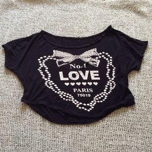 "Black ""No. 1 Love"" Cropped Top"